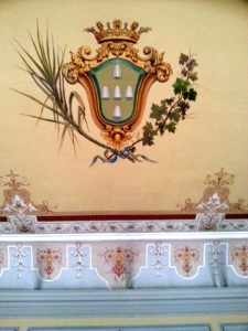 The Funchal crest, with sugar cane, wine, and sugar cones